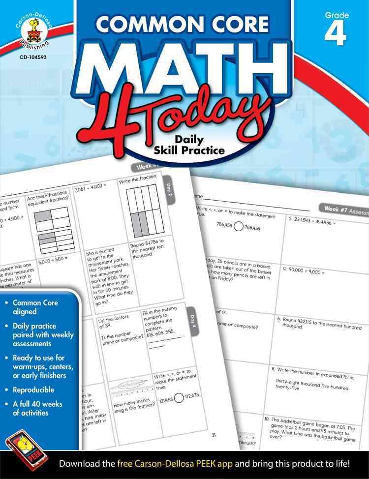 Carson Dellosa Publishing Company Common Core Math 4 Today, Grade 4: Daily Skill Practice by McCarthy, Erin [Paperback] at Sears.com